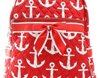 Anchor Print Quilted Monogrammed Backpack Red and White
