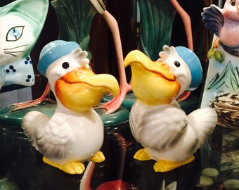 Norcrest Anthropomorphic Pelicans in Blue Hats Salt and Pepper Shakers made in Japan circa 1950s