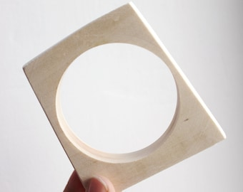 Irregular square Wooden bangle unfinished  - natural eco friendly IS