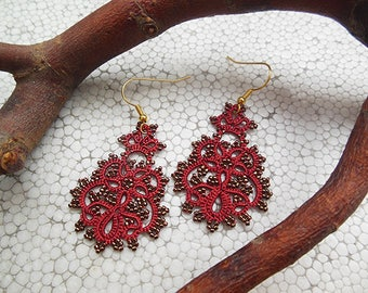 Red tatting earrings with bronze seed beads, lace jewelry, tatted lace earrings, filigree earrings, gift for mother, gift for her