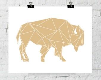 Tribal Buffalo Print, Buffalo Art, Baby Buffalo, Buffalo Wall Art, Geometric Buffalo, Buffalos, Printable Animal Wall Art, Instant Download