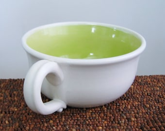 Large Pottery Soup Mug in Lime Green 16 oz. Ceramic Cappuccino Coffee Cup, Hand Thrown Stoneware, Coffee Gift