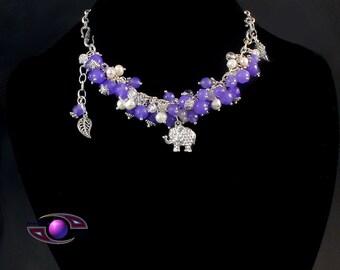 "Jade Freshwater Pearl Rock Crystal """"Magical Elephant"""" (Necklace- Bracelet -Transformer)"