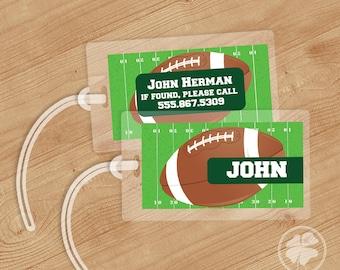 Football - Luggage Tag, Bag Tag, Backpack Tag, ID Tags, Personalized, Custom