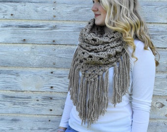 Triangle Cowl, Scarf with Fringe, Chunky Knit Scarf + The Belle Cowl + BEIGE