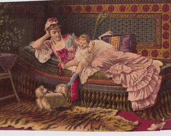 Antique Victorian Print Chromolithograph 1880s Mother Child and Cute small DOG