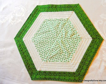 Quilted, Reversible Octagon Candle Mat, Quilted Table Topper, St. Patrick's Day, Shamrocks, Celtic Medallions, Handmade Table Linens