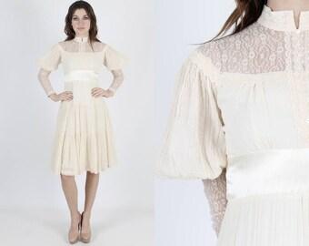 Gunne Sax Dress Boho Wedding Dress Bohemian Dress Bridesmaids Dress Ivory Dress Vintage 70s Dress Cream Gauze Floral Lace Midi Mini S