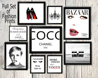 Fashion set prints, Coco Chanel print, twiggy wall art, eyelashes poster, prada store, heels print, make up print,magazine cover,vogue quote