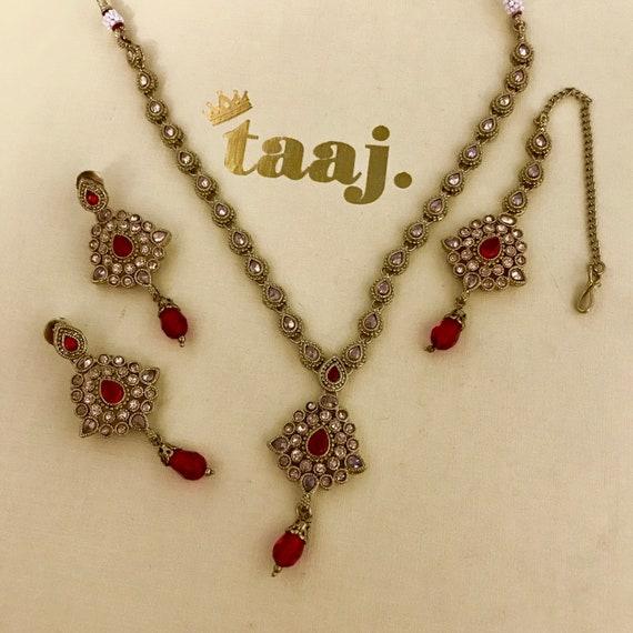 Mahi Gold and ruby zirconia necklace earrings and tikka set indian bridal Pakistani jewellery