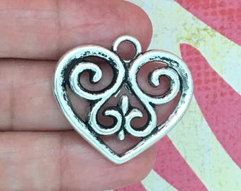 5 Silver Heart Charm Pendant 29x33mm by TIJC SP0071