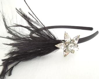 Black Feather & Rhinestone Headpiece- One of a Kind