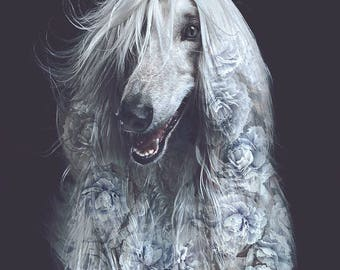 Afghan Dog Flower Portrait – Faunascapes Art Print by WhatWeDo