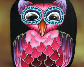 Large Owl Polymer Clay Cane -'Night Owl' series (40bb)