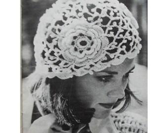 Crochet HAT Pattern Vintage 70s Crochet Flower Hat Pattern Crocheted Hat Pattern