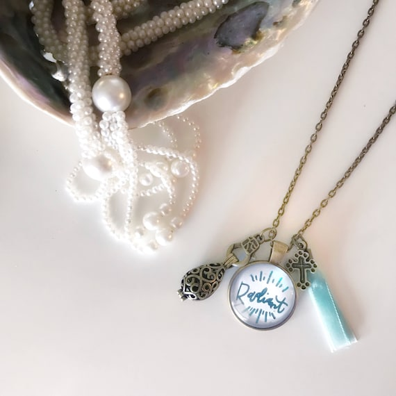 Catholic Pendant Necklace * Handlettered Pendant * Diffuser Jewelry * Inspirational Jewelry * Gifts for Mom * Girlfriend Gifts