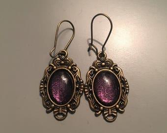 Bronze and purple earrings