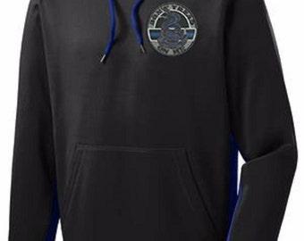 Thin Blue Line Don't Tread On Me Sport-Tek® Sport-Wick® Fleece Color Block Hooded Pullover SKU: SW209