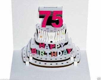 Pop Up Laser cut card - 75th Birthday  POP69