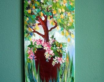 Original Painting Lemon Tree 12 x 24 Art by Elaine Cory