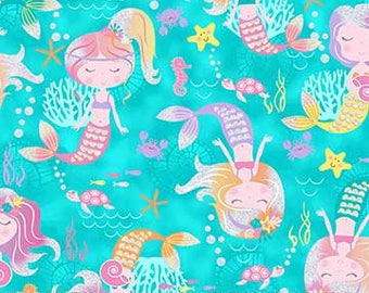 Glitter Mermaids on Aqua from Northcott Fabric's Mermaid Wishes Collection