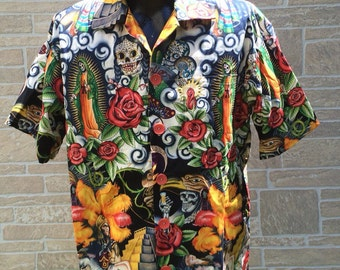 Mexican inspired Hawaiian shirt, Monkey shirt, Mexican theme shirt, Day of the dead shirt, Party shirt