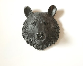 GUN METAL SMALL Bear Head Faux Taxidermy wall mount wall hanging mounted bear head mini animal head fake animal head  faux taxidermie