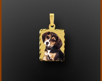 """14kt Gold Personalized Photo Pendant """"Rectangle Shape"""" Small"""