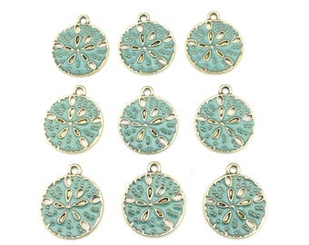 9 sand dollar charms green enamel and gold tone 24mm #CH 494