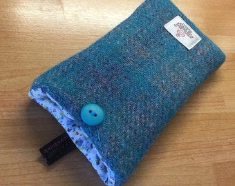 iPhone SE, 5, 5S case, turquoise check Harris tweed iPhone cover, made in Scotland, mum gift, friend gift, Mother's Day