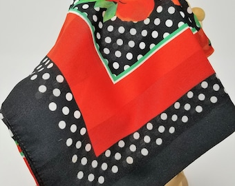 """Vintage W omens Scarf Red Black Polka Dot made in Italy 30'' x 30"""""""""""
