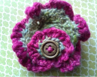 Hand Knit Brooch Green/Pink Mix Wool