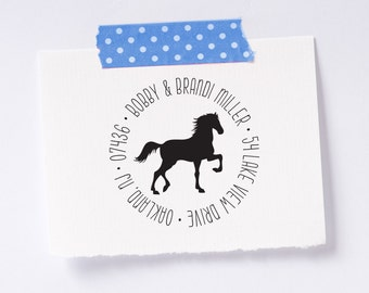 Personalized Custom Return Address Rubber Stamp - Horse