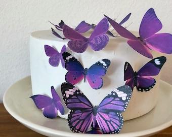 Comestibles papillons assortis lot de 15 Royal Purple-gâteau et Cupcake Topper décoration d'approvisionnement