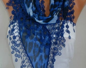 Royal Blue Leopard Scarf Spring Shawl Passover Hanukkah Gift Cotton Cowl Necklace Gift Ideas For Her Women Fashion Accessories Mother Gift