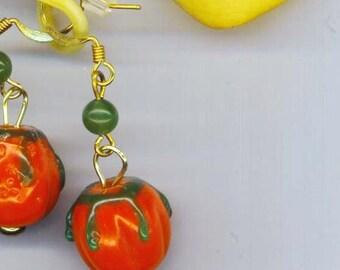 Ceramic Pumpkin Earrings . Halloween Harvest. Gold Orange . Green Jade .Thanksgiving Jewelry - Pumpkin Pie by enchantedbeas on Etsy
