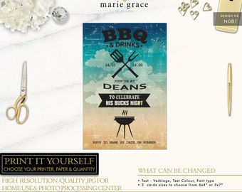 Bachelor and Birthday Party Invitation Template, Bucks Party Invite template, Bbq Invitation