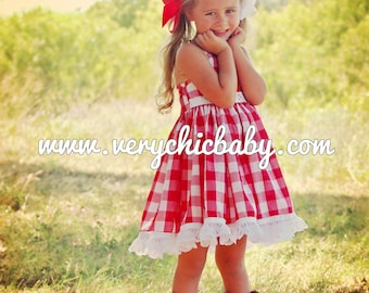 Gingham Dress, Red Gingham Dress for Girls,  Red Gingham Dress, Country Girl Dress, Cowgirl Birthday Outfit, Gingham Dress