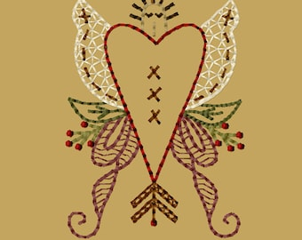 MACHINE EMBROIDERY-Angel Heart-4X4-Colorwork-Instant Download