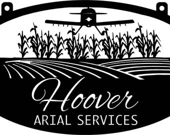 4ft Personalized Metal Sign with SPRAY PLANE and CornFields