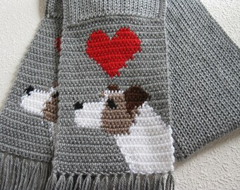 Jack Russell Terrier Scarf.  Grey knit and crochet scarf with Parsons Terriers. Knitted dog scarf. Jack Russell gifts
