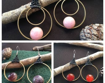 Handmade earrings, hoop earrings, brass earings, gemstone earrings, boho earrings, amethyst earings, tiger eye earrings, carnelian earings