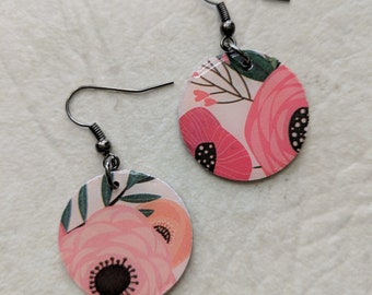Pink Floral Paper Dangle Earrings