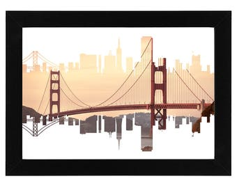 San Francisco Skyline Print with an image of the Golden Gate Bridge