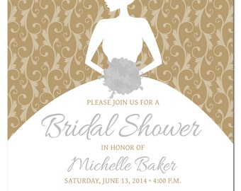 Edit your own with photoshop printable bridal shower printable diy bridal shower invitation template with photoshop gold and silver metallic template bridal stopboris Gallery