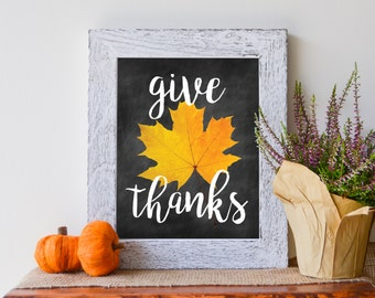 "Give Thanks, Autumn Chalkboard Print, Thanksgiving, 8""X10"" Instant Download Printable"