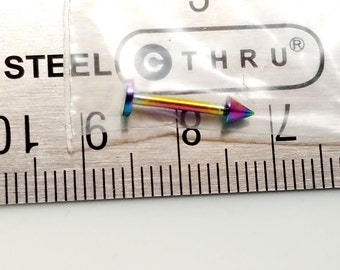 Vampire Bite Rainbow Anodized Titanium plated 14g surgical stainless steel listing is for one piece