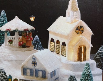 Winter Village Plastic Canvas Annies Attic holiday
