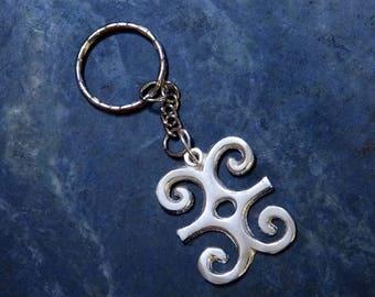 Adrinkra Silvertone Key Chain