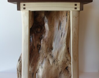 Maple and Cocobola Spalted Stump Side Table